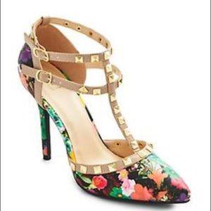 Studded Floral Heels